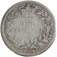 Great Britain 1874 Shilling Very Good (VG-8)