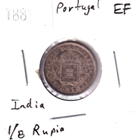 Portugal 1881 India 1/8 Rupia Extra Fine (EF-40)