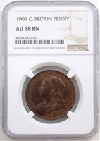 Great Britain 1901 Penny NGC Certified AU 58 BN $