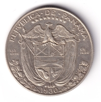Panama 1930 1/2 Balboa Almost Uncirculated (AU-50) $