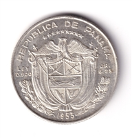 Panama 1953 1/4 Balboa Brilliant Uncirculated (MS-63)