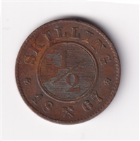 Norway 1867 1/2 Skilling Almost Uncirculated (AU-50)