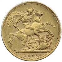 Great Britain 1892 Gold Sovereign VF-EF (VF-20)