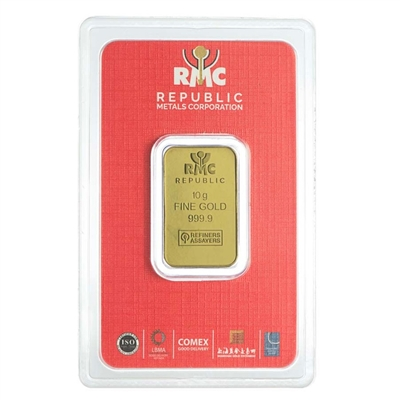 10 Gram RMC .999 Gold Bar with Tamper Evident Packaging (No Tax)