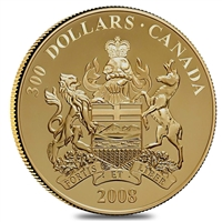 2008 Canada $300 14K Alberta Provincial Coat of Arms Gold (tattered sleeve)