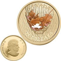 2010 Canada $75 Gold Coin - Maple Leaf - Winter (Tree bark)