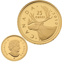 2010 Canada 25-Cent .5g Gold Caribou (TAX Exempt).