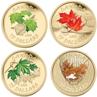 2010 Canada $75 14K Four Seasons Coloured 4-coin Gold Set