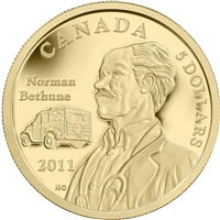 2011 Canada $5 Gold 75th Ann. 1st Blood Transfusion Vehicle (No Tax)