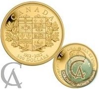 2012 Canada $500 100th Anniversary First Gold Coins 5oz. Fine Gold (TAX Exempt)