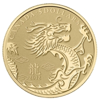 2012 Canada $5 Year of the Dragon 1/10oz. $5 Pure Gold Coin (No Tax)