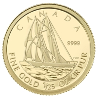 2012 Canada 50-cent The Bluenose 1/25oz. Fine Gold Coin (Tax Exempt) Sleeve Creased