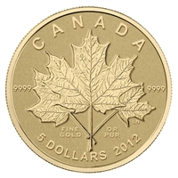 2012 Canada $5 Maple Leaf Forever 1/10thoz. Gold (No Tax)