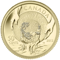 2012 Canada 50-cent Caribou Gold Rush 1/25oz. Gold Coin (No Tax)