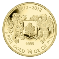 2012 Canada $10 The War of 1812 1/4oz. Pure Gold Coin (TAX Exempt)