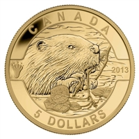 2013 $5 O Canada - The Beaver 1/10oz. Pure Gold Coin (#1) No Tax