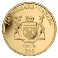 2013 Canada $300 Provincial Coat of Arms - Ontario 14K Gold Coin