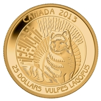 2013 Canada $25 Arctic Fox 1/4oz. Pure Gold Coin (TAX Exempt)