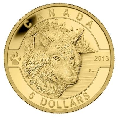 2013 $5 O Canada - The Wolf (#3) 1/10oz Pure Gold Coin (TAX Exempt)