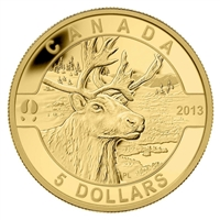 2013 $5 O Canada - The Caribou (#4) Fine Gold Coin (No Tax)