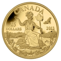 2013 $25 Canada - An Allegory 1/4oz. Gold (No Tax)