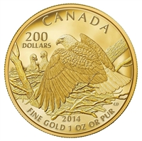 2014 Canada $200 Bald Eagle Protecting Her Nest Pure Gold (No Tax)