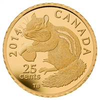 2014 Canada 25-cent Chipmunk Pure Gold Coin (TAX Exempt)