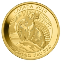 2014 Canada $25 Untamed Canada - Wolverine Pure Gold Coin (TAX Exempt)