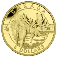 2014 Canada $5 O Canada Series - Moose Pure Gold Coin (TAX Exempt)
