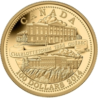 2014 Canada $100 Quebec and Charlottetown Conferences 14k Gold Coin