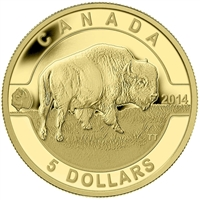 2014 $5 O Canada - Bison 1/10thoz. Pure Gold (TAX Exempt)