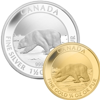 2013 Canada Polar Bear Pure Gold and Silver 2-coin Set (No Tax)