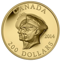 2014 Canada $200 75th Anniversary First Royal Visit Gold (No Tax)