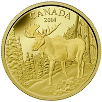 2014 Canada $350 The Majestic Moose Pure Gold Coin (No Tax) Small Crease on Sleeve