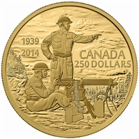 2014 Canada $250 75th Anniversary Of WWII Pure Gold Coin (TAX Exempt)
