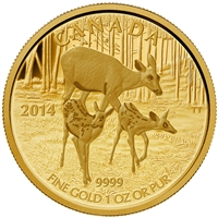2014 Canada $200 White-Tailed Deer - Quietly Exploring Gold (No Tax)