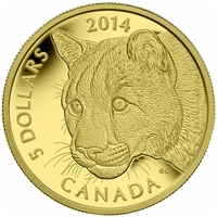 2014 Canada $5 Cougar Pure Gold Coin (TAX Exempt) - 130609