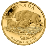2014 Canada $200 The Bison - At Home On The Plains Gold (No Tax)