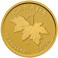2014 Canada $10 Maple Leaves with 1953 Effigy 1/4oz. Pure Gold (NO Tax)