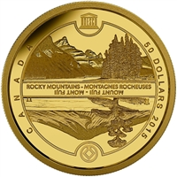 2015 Canada $50 UNESCO Mount Fuji & Canadian Rockies 1/4oz. Pure Gold (No Tax)
