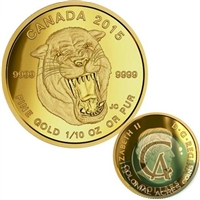 2015 Canada $5 Prehistoric Animals - Scimitar Sabre-Tooth Cat Gold (No Tax)