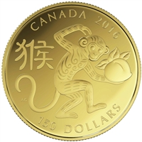 2016 Canada $150 Lunar Year of the Monkey 18K Gold Coin