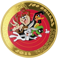 2015 Canada $100 14KT Looney Tunes Bugs Bunny & Friends Gold & Pocket Watch