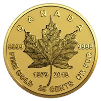 2019 Canada 25-cent 40th Anniversary of the GML Pure Gold Coin (No Tax)