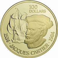 1984 Canada $100 Jacques Cartier's Voyage of Discovery 22K Gold Coin