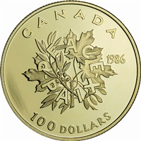 1986 Canada $100 International Year of Peace 22K Gold Coin
