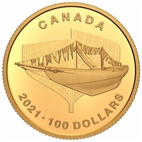 2021 Canada $100 100th Anniversary of the Bluenose: The Launch Pure Gold (No Tax)