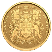 2021 Canada $20 100th Anniversary of Canada's Coat of Arms Pure Gold Coin