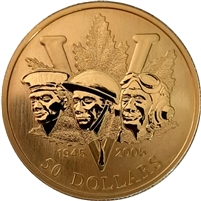 2005 Canada $50 60th Anniversary of the End of WWII 14K Gold Coin