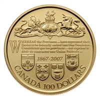 2007 Canada $100 140th Anniversary of the Dominion of Canada 14K Gold